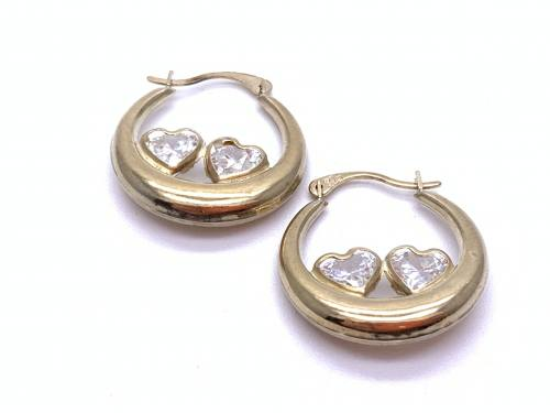 9ct Yellow Gold Heart CZ Hoop Earrings