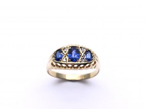 Synthetic Sapphire& Diamond Ring