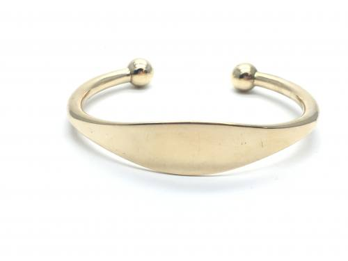 9ct Yellow Gold Solid ID Torque Bangle