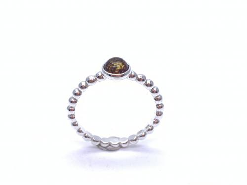 Silver Round Amber Ball Band Ring