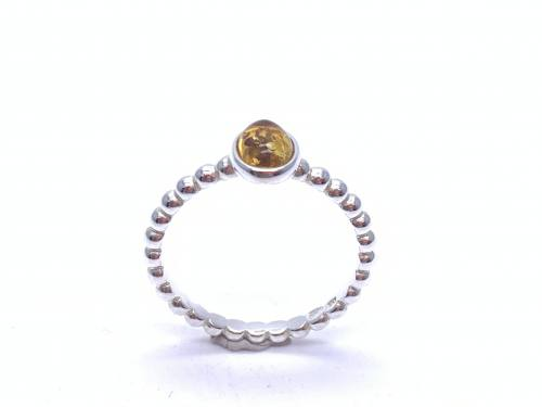 Silver Oval Amber Ball Band Ring