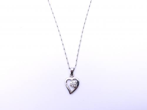 18ct Diamond Solitaire Heart Necklet