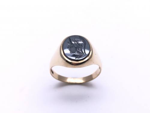 9ct Yellow Gold Haematite Ring