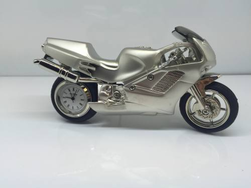 Miniature Clock - Silver Satin Finish Motorbike