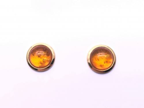 9ct Yellow Gold Amber Stud Earrings