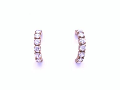 9ct Cubic Zirconia Hoop Earrings