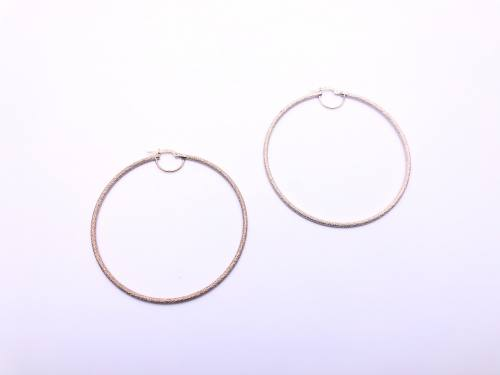9ct Yellow Gold Patterned Hoop Earrings 60mm