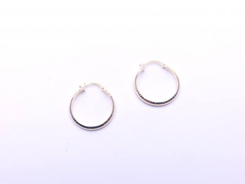 9ct Yellow Gold Patterned Hoop Earrings 20mm