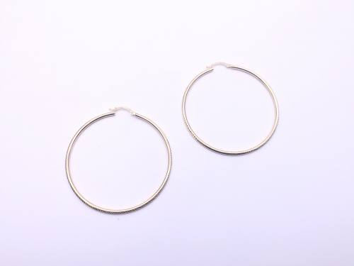 9ct Yellow Gold Patterned Hoop Earrings 55mm