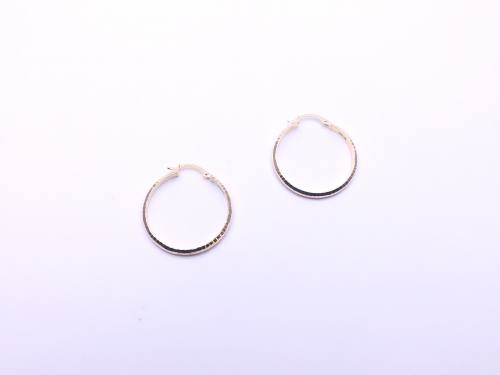 9ct Yellow Gold Patterned Hoop Earrings 25mm