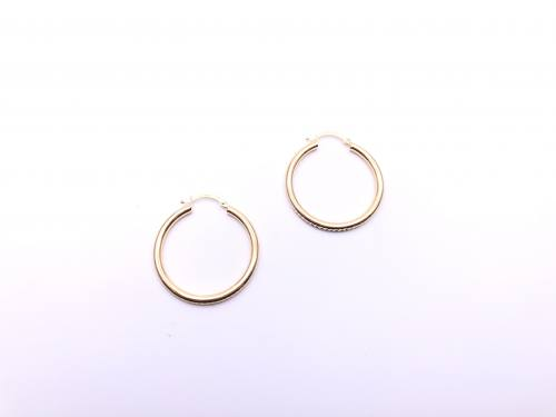 9ct Yellow Gold Patterned Hoop Earrings 30mm