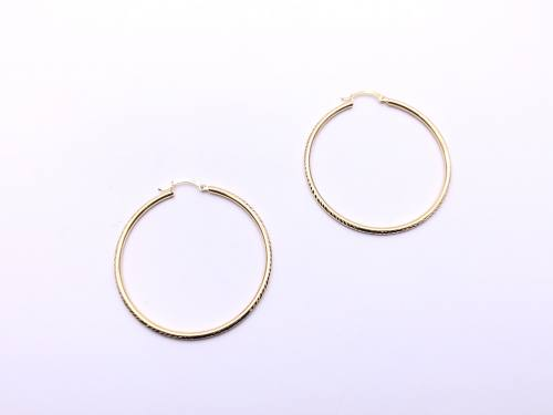 9ct Yellow Gold Patterned Hoop Earrings 40mm