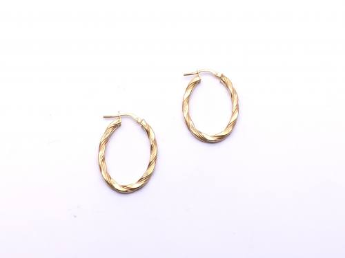 9ct Yellow Gold Patterned Oval Hoop Earrings 20mm