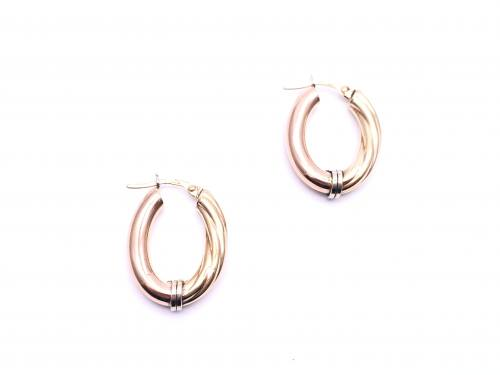 9ct Three Colour Oval Hoop Earrings