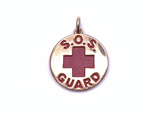 9ct Yellow Gold Red Enamel SOS Guard Pendant