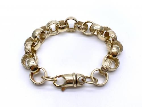 9ct Yellow Gold Engraved Belcher Bracelet 8 Inch