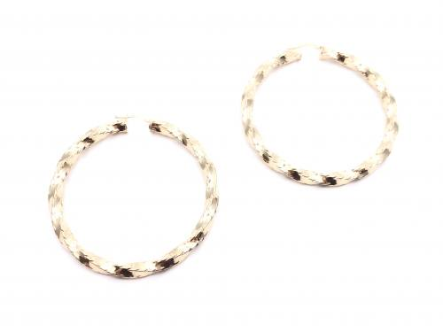 9ct Yellow Gold Twisted Hoop Earrings 60mm