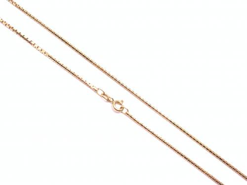 9ct Yellow Gold Box Chain 19 inches