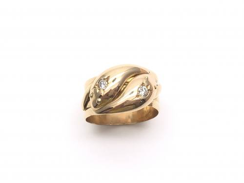 An Old 18ct Yellow Gold Diamond Snake Ring