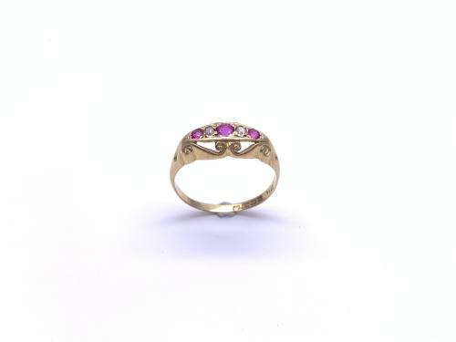 Synthetic Ruby & Diamond Ring 1919