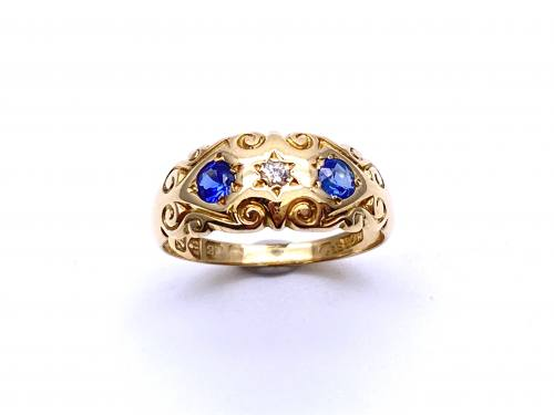An Old Synthetic Sapphire & Diamond Ring 1911