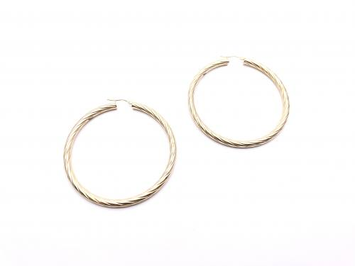 9ct Yellow Gold Twisted Hoop Earrings 50mm