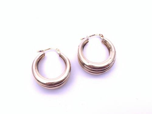 9ct Chunky Hoop Earrings 20mm