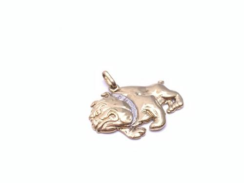 9ct Yellow Gold Diamond Bulldog Pendant