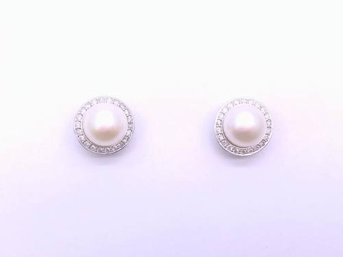 9ct White Gold Pearl & Diamond Earrings 0.51ct