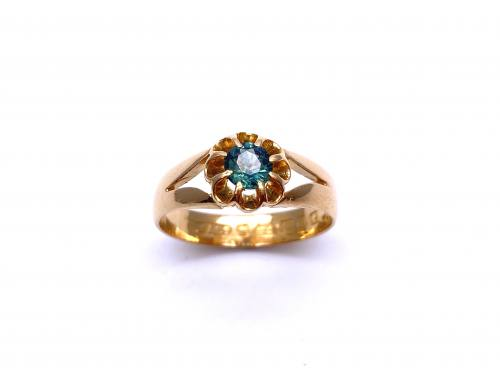 An Old 22ct Green Sapphire Ring Birmingham 1888