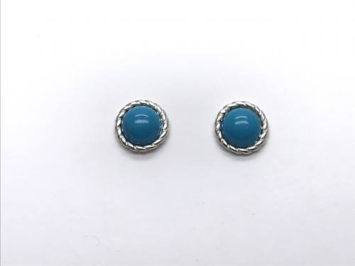 Silver Reconstituted Turquoise Stud Earrings