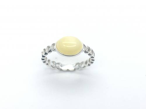 Silver Oval Amber Heart Band Ring