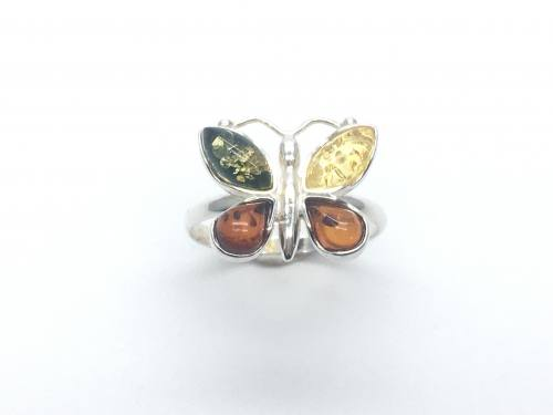 Silver Multi Amber Butterfly Ring