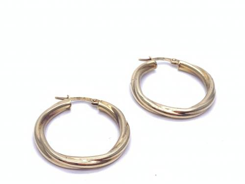 9ct Yellow Gold Round Twist Hoops