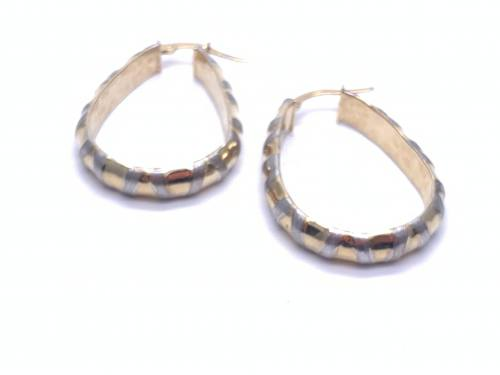 9ct 3 colour Gold Twist Hoops