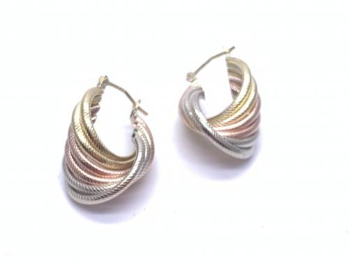 9ct 3 colour Gold Twist Drop Hoops