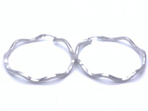 9ct White Gold Wave Hoop Earrings