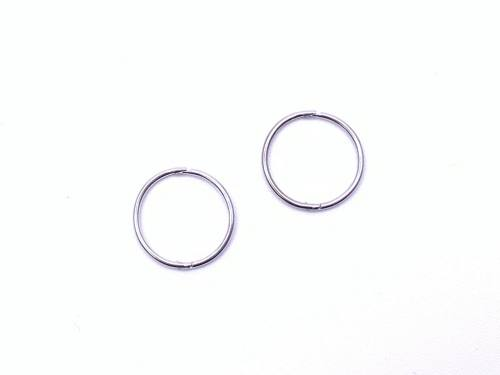 9ct White Gold Hinged Sleeper Hoop Earrings 13mm