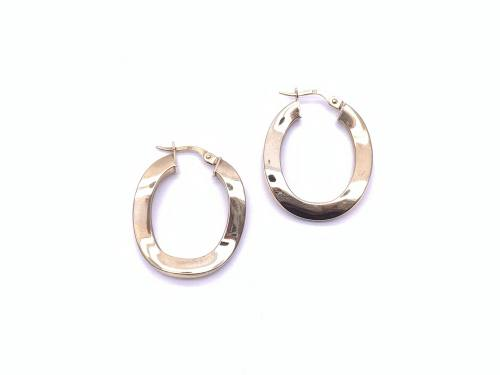 9ct Yellow Gold Wavey Hoop Earrings