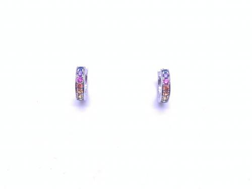 18ct White Gold Multi-Sapphire Earrings