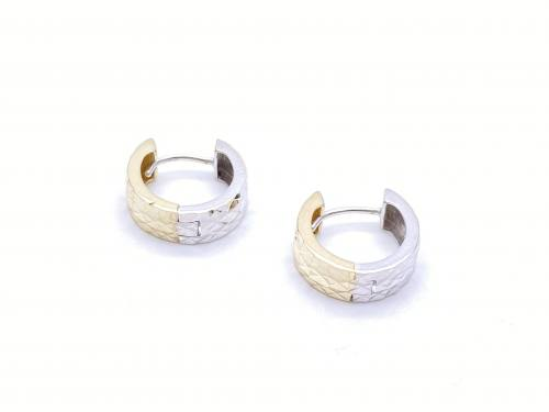9ct Yellow & White Gold Patterned Hoop Earrings