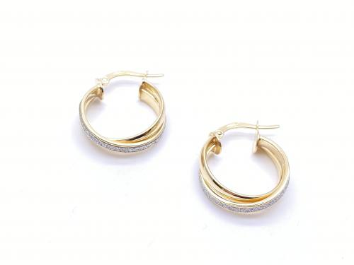 9ct Yellow Gold Glitter Crossover Hoop Earrings