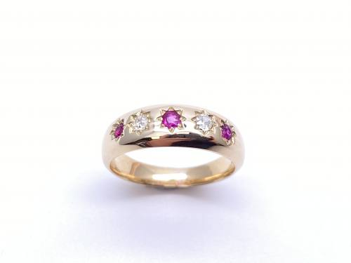 Diamond & Synthetic Ruby Ring