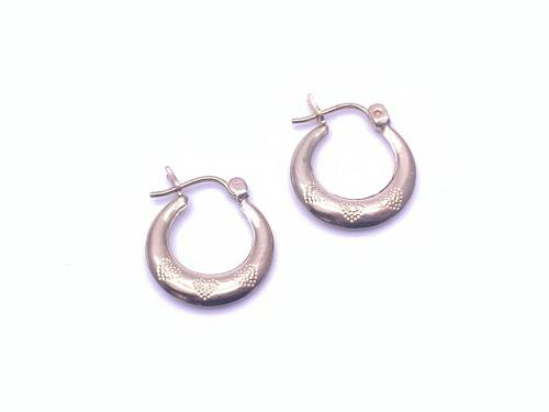 9ct Hoop Earrings with Heart Design