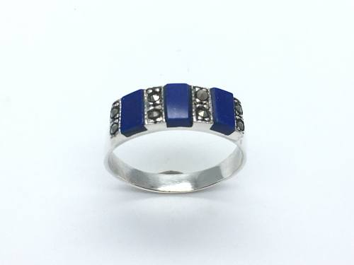 Silver Lapis and Marcasite Ring