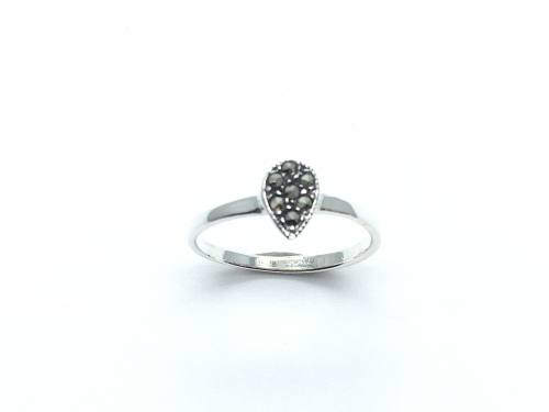 Silver Pear Shaped Marcasite Ring
