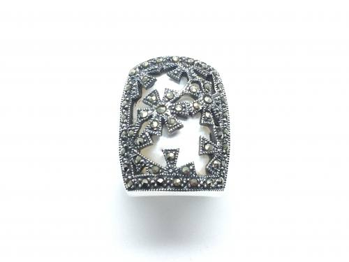 Silver Mother of Pearl and Marcasite Ring