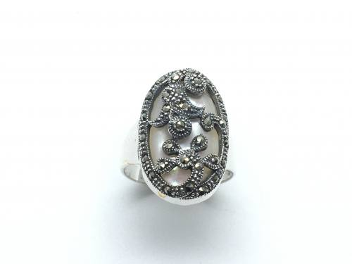 Silver Mother of Pearl and Marcasite Oval Ring