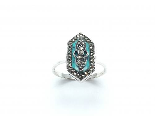 Silver Turquoise and Marcasite Ring
