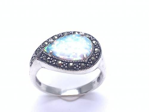 Silver Created Opal and Marcasite Ring